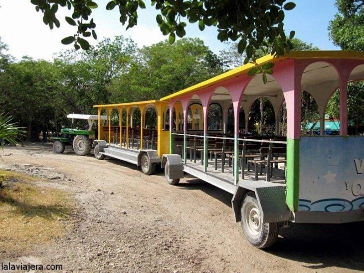 Tren turístico entre Tulum pueblo y la ciudad maya