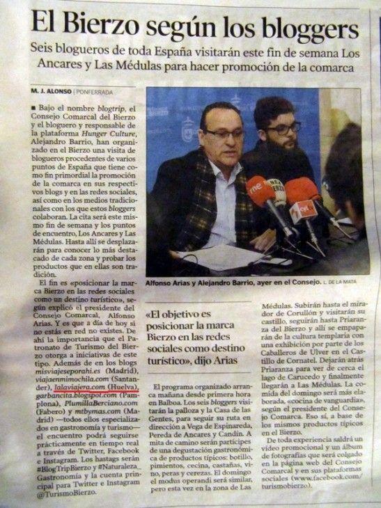 #BlogTripBierzo en el Diario de León