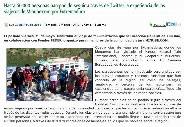 Nota de prensa del #minubetrip Extremadura