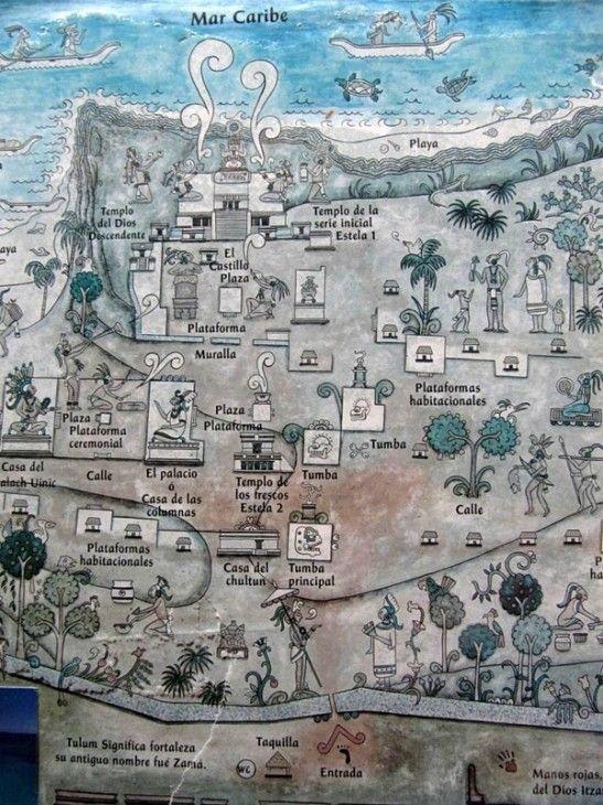Plano de la zona arqueológica de Tulum