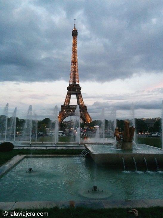 Torre Eiffel y fuentes del Trocadero